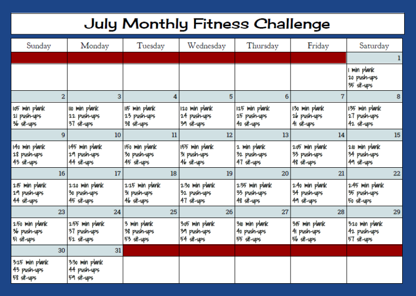julymonthly fitness challenge
